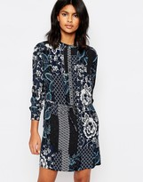 Warehouse Prairie Print Tie Waist Dress