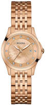 Bulova 27mm Rose Golden Diamond Bracelet Watch