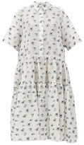 Cecilie Bahnsen - Primrose Tiered Floral Fil-coupe Midi Dress - Womens - White Multi