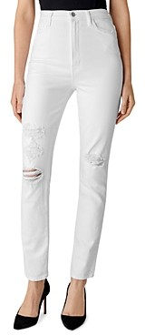 J Brand 1212 Runway High-Rise Slim Straight Jeans in White Destruct