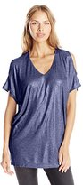 DKNY Women's Metallic Pieced Cold Shoulder Top