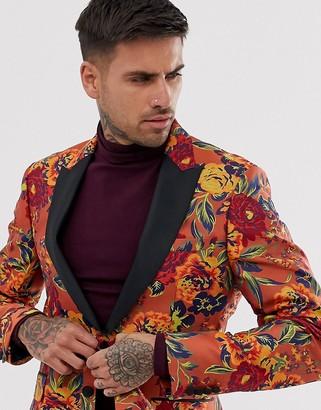 Asos Design DESIGN skinny tuxedo blazer with floral jacquard in orange-Red