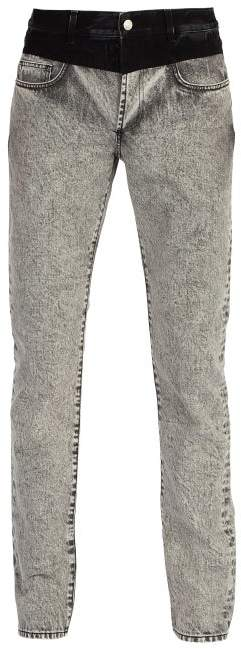 Givenchy Contrast Waistband Washed Denim Jeans - Mens - Grey