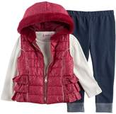 Little Lass Baby Girl Foil Faux Fur Vest, Ribbed Tee & Jeggings Set