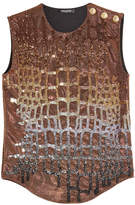 Balmain Sequin Embellished Tank with Embossed Buttons