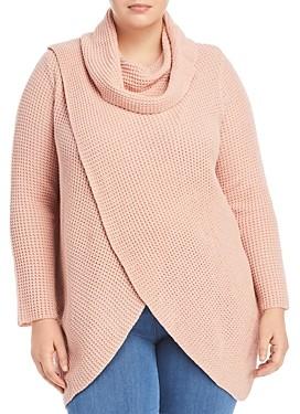 Single Thread Plus Size Cross Front Cowl Neck Sweater