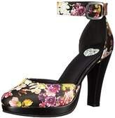 T.U.K. Women's Floral Ankle Strap Starlet Heel Platform Pump,5 M US