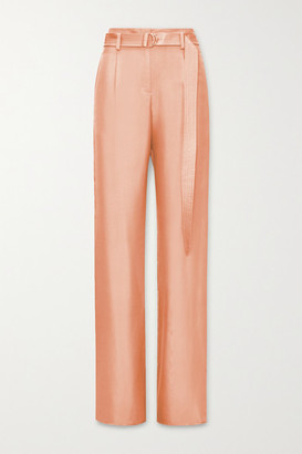 LAPOINTE - Belted Silk-twill Wide-leg Pants - Peach