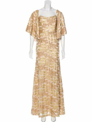Mestiza New York Sequined Off-The-Shoulder Dress w/ Tags gold