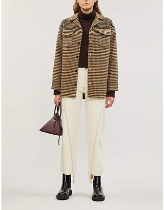 Sandro Embellished checked wool-blend jacket