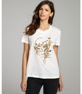 Alexander McQueen white embroidered and beaded cotton short sleeve t-shirt