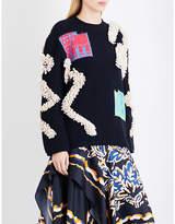 Peter Pilotto Contrast-patch and bouclé-knit jumper
