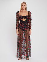 For Love & Lemons Blondie Embroidered Tulle Puff Sleeve Maxi Dress