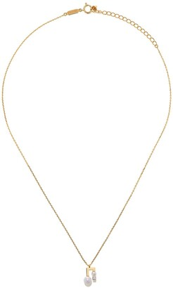 TASAKI 18kt yellow gold petit Balance Note Collection Line Akoya pearl and diamond pendant necklace