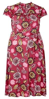 Dorothy Perkins Womens **Billie & Blossom Curve Pink Floral Print Fit And Flare Dress, Pink