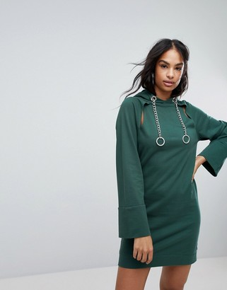 Asos Design Hooded Mini Sweat Dress With Chains And Cut Outs-Green