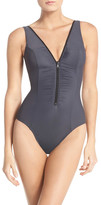 Miraclesuit Miracle Suit Front Zip One-Piece Swimsuit