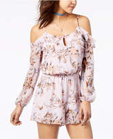American Rag Juniors' Printed Cold-Shoulder Romper, Created for Macy's