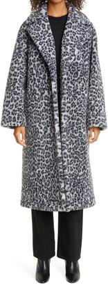 Stand Studio Maria Long Leopard Print Faux Fur Coat