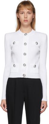 Balmain White Knit Button Cardigan
