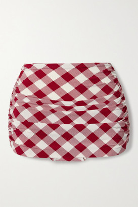 Norma Kamali Bill Ruched Checked Bikini Briefs - Red