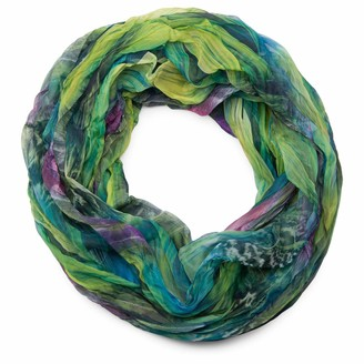 styleBREAKER feather pattern batik style loop tube scarf crash and crinkle silky and light 01016064
