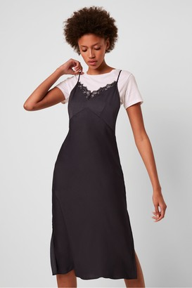 French Connection Andela Satin Lace Trim Slip Dress