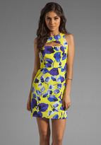 Milly Ivy Print on Silk Cotton Faille Cut-Out Mini Dress