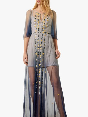 French Connection Amana Sheer Floral Ombre Maxi Dress, Indigo/Beige