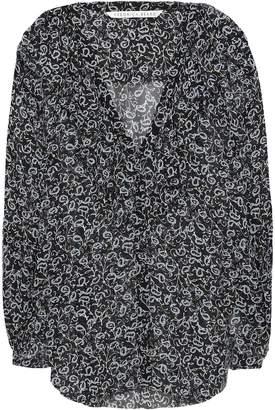 Veronica Beard Ruffled Printed Silk-georgette Blouse