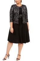 Jessica Howard Plus Size Printed Jacket & Dress Set