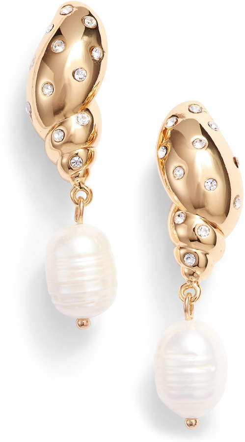 a968e05d50825 Under The Sea Studded Tulip Shell & Pearl Drop Earrings