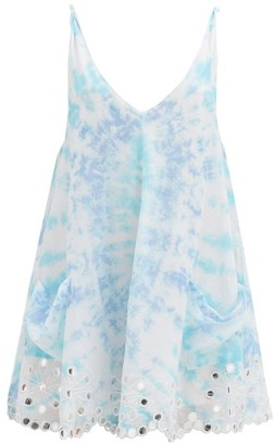 Juliet Dunn Open-back Tie-dyed Cotton Mini Dress - Blue White