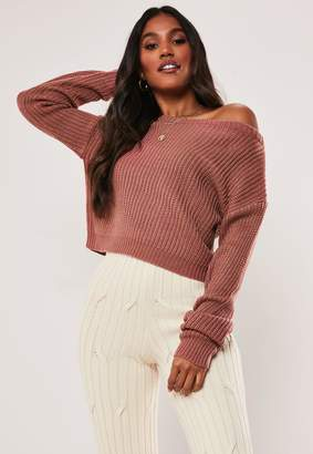 Missguided Pink Cropped Off The Shoulder Jumper