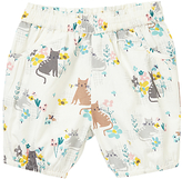 John Lewis Cat Print Shorts, Cream/Multi
