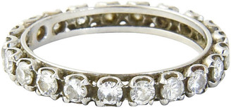 One Kings Lane Vintage Round-Cut Diamond Eternity Band - Owl's Roost Antiques - silver/white