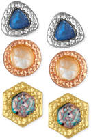 Rachel Roy 3-Pc. Set Stone Stud Earrings