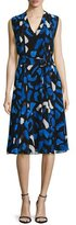 GREY by Jason Wu Brushstroke-Print Pleated A-Line Dress, Blue/White Multi