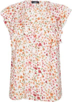 Wallis Ivory Floral Print Ruffle Top