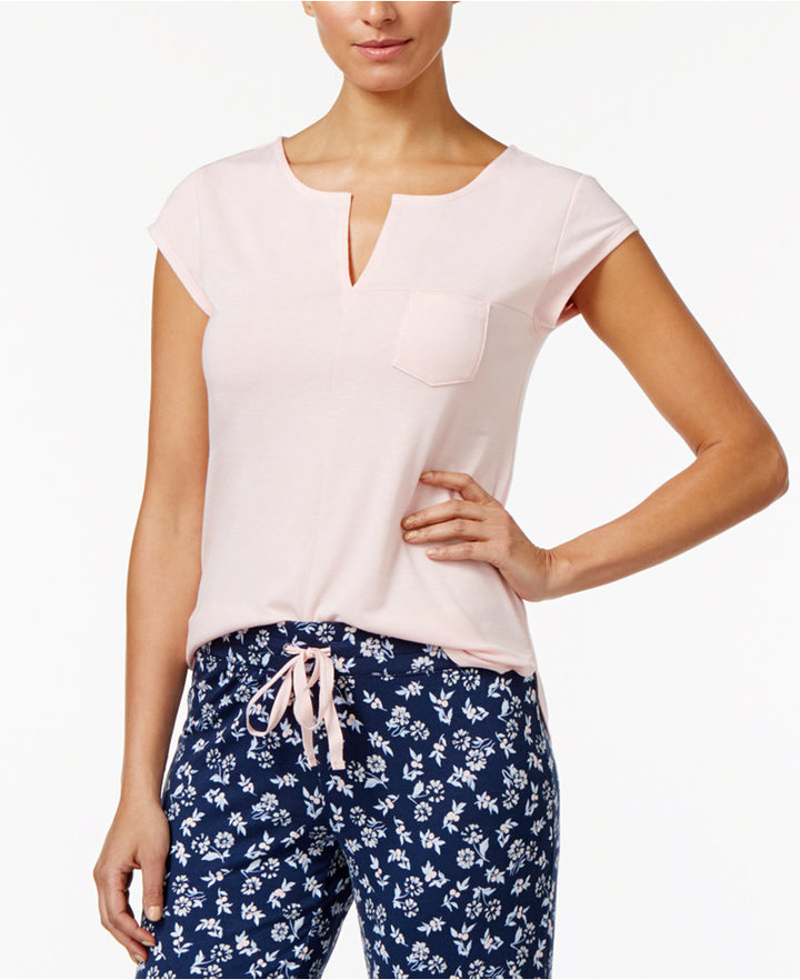 Alfani Split-Neck Pajama Top, Created for Macy's