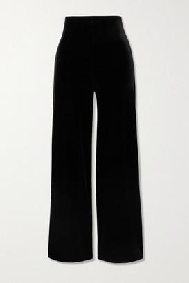 Commando Stretch-velvet Wide-leg Pants - Black