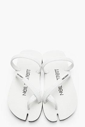 Neil Barrett Black Rubber Notched Sandals