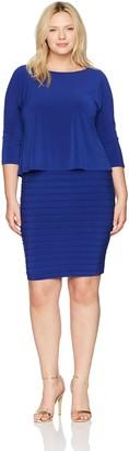 Adrianna Papell Women's Plus Size Shutter Pleat Popover Sheath Dress