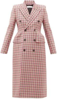 Balenciaga Hourglass Double Breasted Checked Wool Coat - Womens - Pink Multi