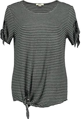 Dylan by True Grit Harper Stripe Tie Tee (White/Black) Women's Clothing