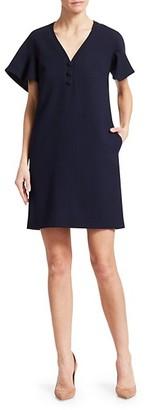 Lela Rose Handkerchief Sleeve Wool Crepe Shift Dress