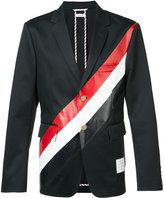 Thom Browne diagonal stripe blazer - men - Cotton/Cupro - 0