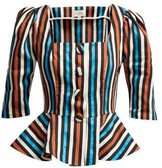 Isa Arfen Ponza Striped Cotton And Linen-blend Peplum Top - Womens - Multi