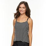 Croft & Barrow Women's Tummy Slimmer Striped Eyelet Tankini Top