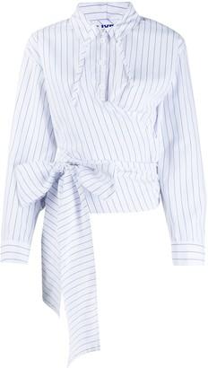 Sjyp Striped-Print Hooded Shirt